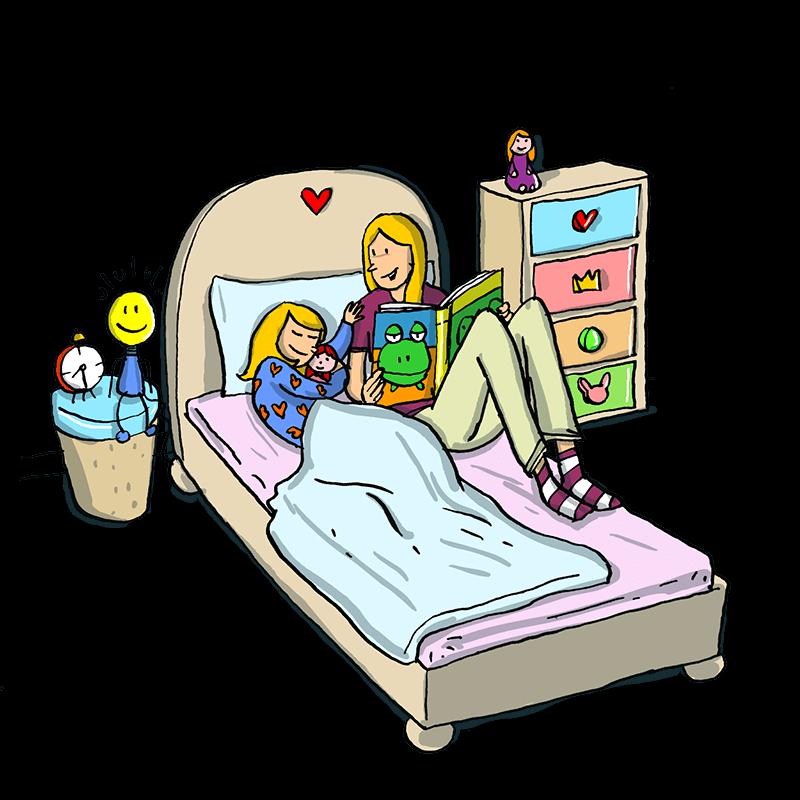 Gute-Nacht-Ritual mit Geschichten-Lesen und Kuscheln