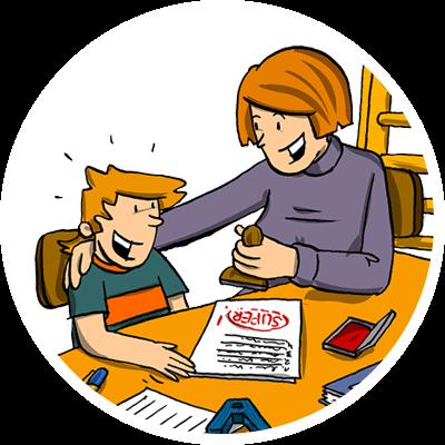Mutter hilft Kind mit ADS beim Lernen